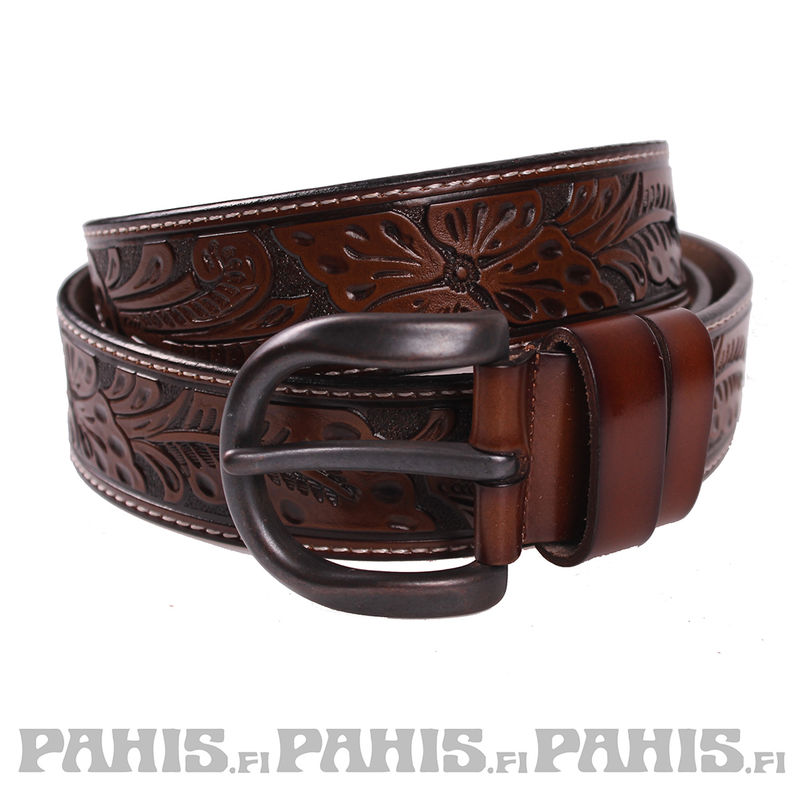 Leather belt - Ornament, chocolate